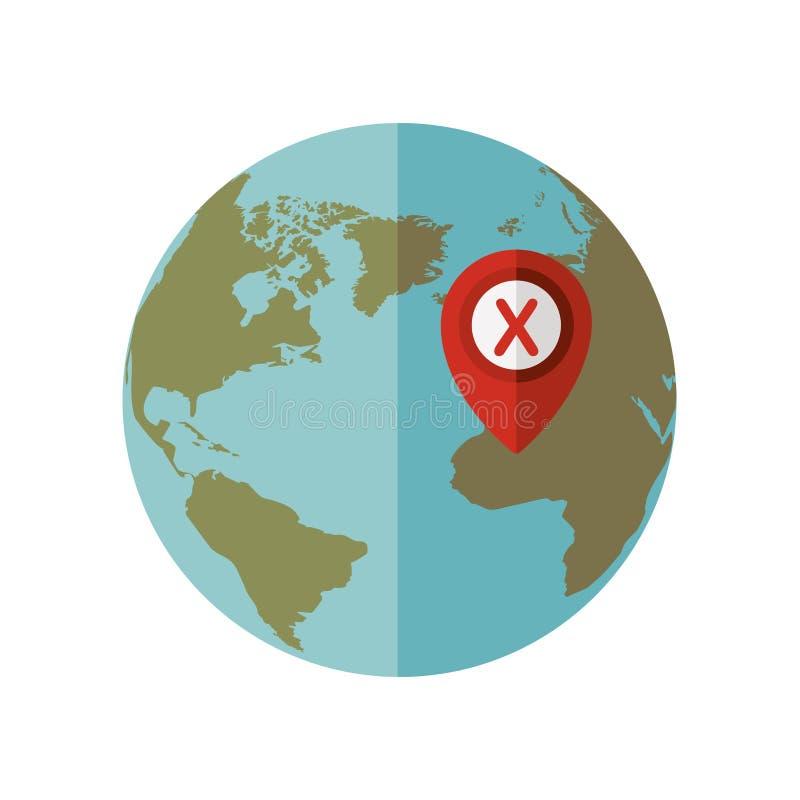 Mondo blu della sfera con il puntatore della mappa x illustrazione vettoriale