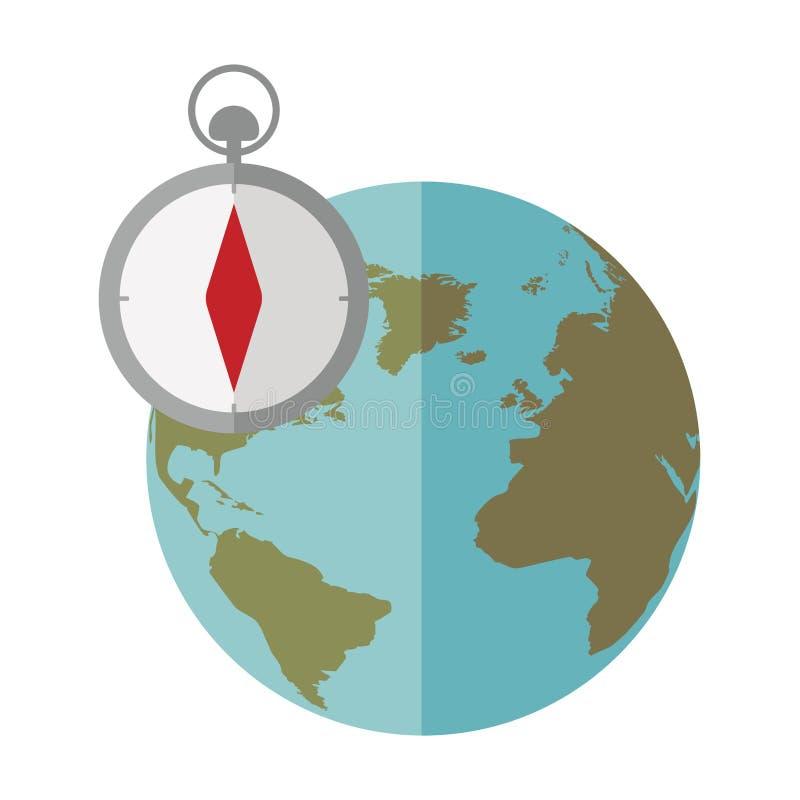 Mondo blu della sfera con l'icona della bussola royalty illustrazione gratis