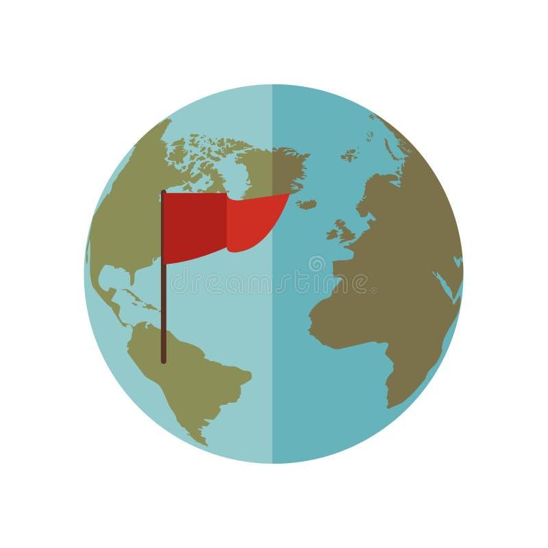 Mondo blu della sfera con la bandiera rossa illustrazione vettoriale