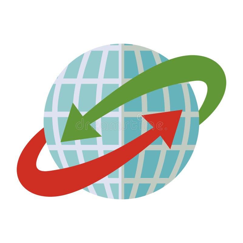 Mondo blu della sfera con la freccia rossa e verde intorno royalty illustrazione gratis
