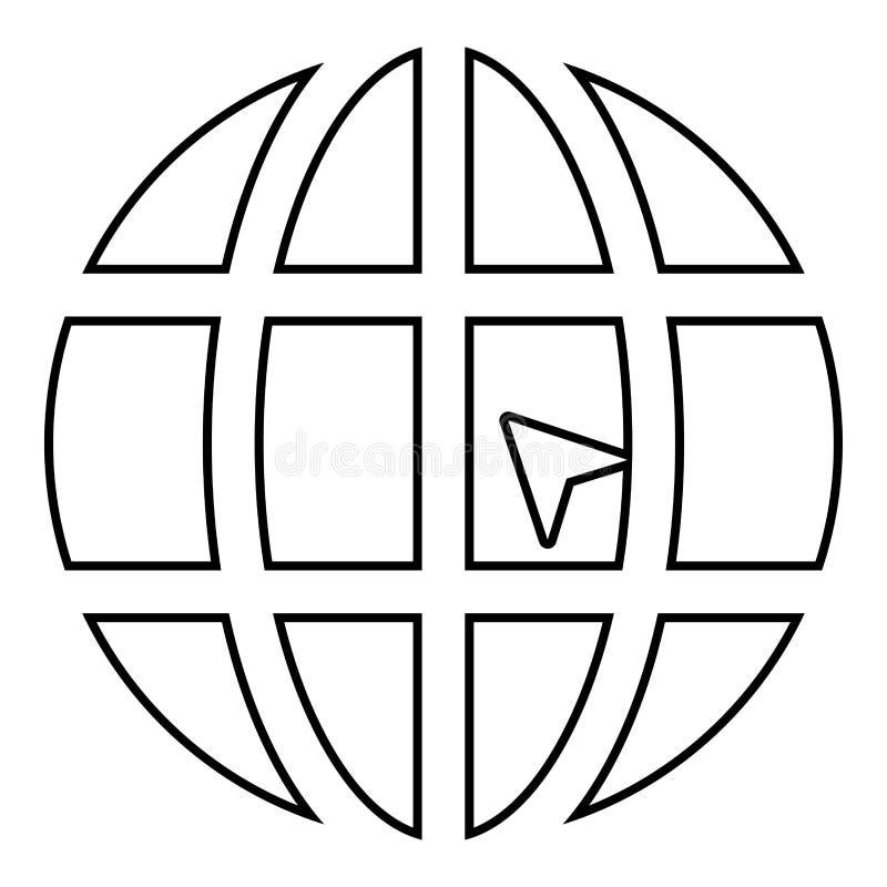 Mondo con il profilo dell'illustrazione di colore del nero dell'icona del sito Web di concetto di clic del mondo della freccia illustrazione di stock