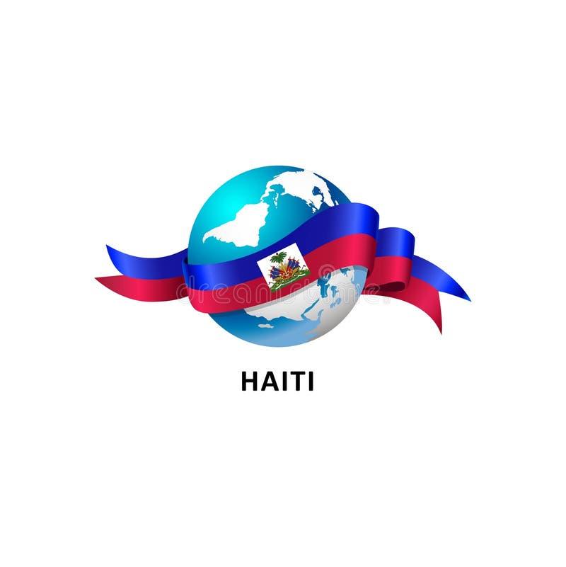 Mondo con la bandiera dell'Haiti royalty illustrazione gratis