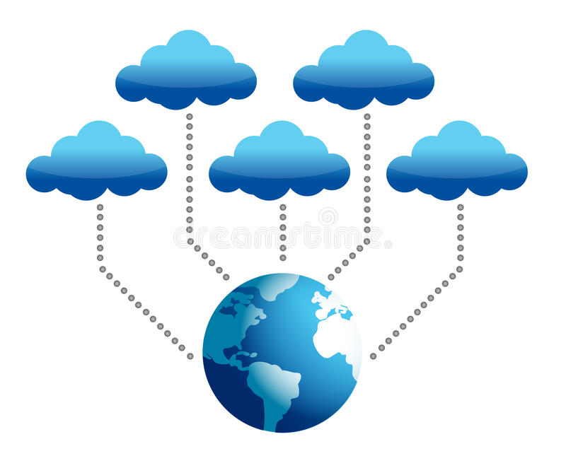 Mondo connesso alla computazione della nuvola illustrazione di stock
