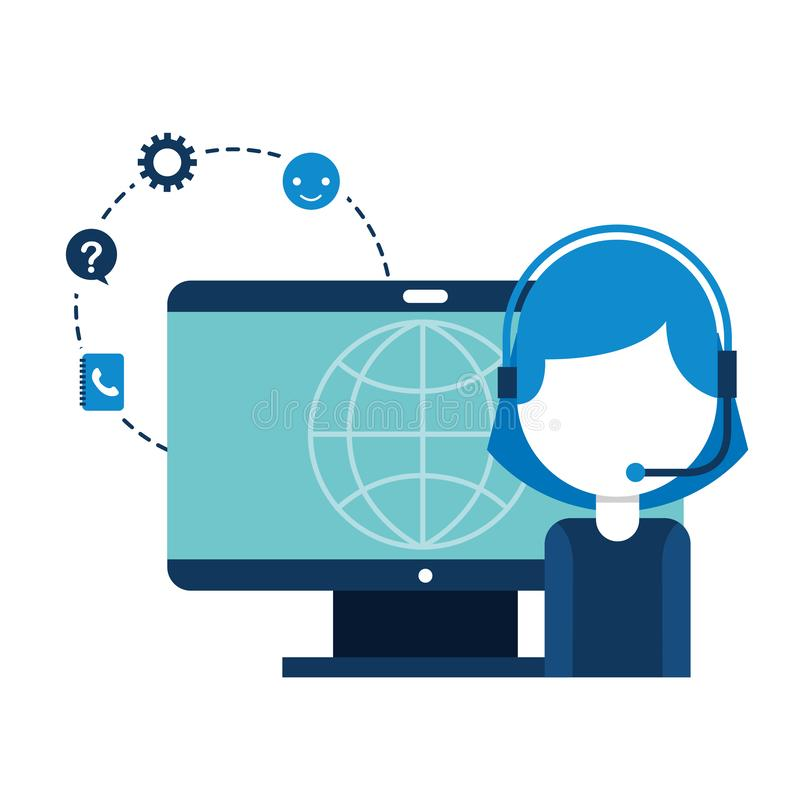 Mondo dei computer della ragazza della call center illustrazione vettoriale