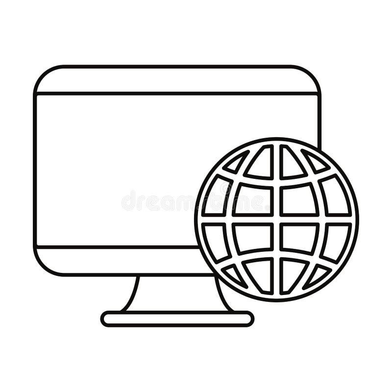 Mondo dei computer su fondo bianco illustrazione vettoriale