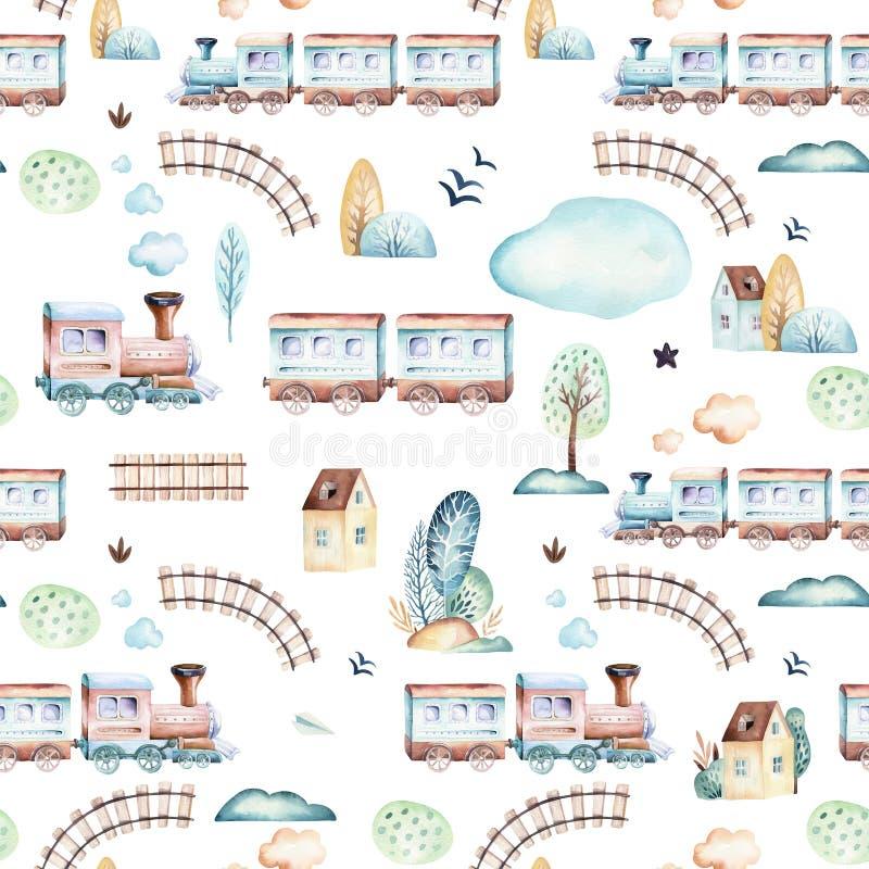 Mondo dei neonati Modello locomotivo dell'illustrazione dell'acquerello dell'aeroplano, dell'aereo e del vagone del fumetto Il ba illustrazione vettoriale