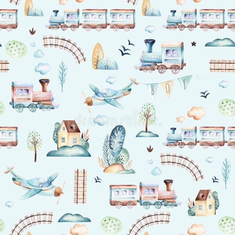 Mondo dei neonati Modello locomotivo dell'illustrazione dell'acquerello dell'aeroplano, dell'aereo e del vagone del fumetto Il ba royalty illustrazione gratis