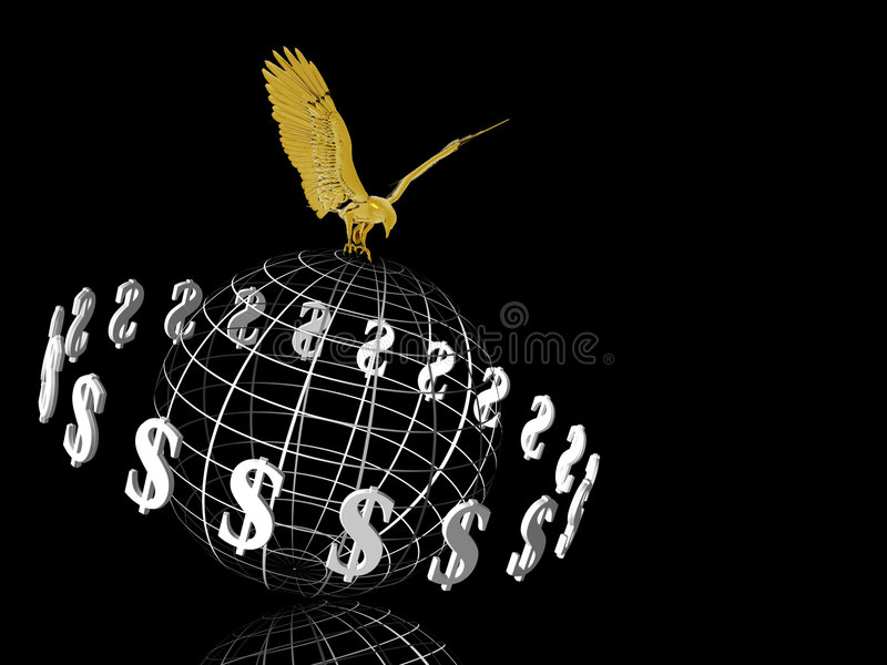 Mondo del dollaro con l'aquila sulla parte superiore. illustrazione di stock