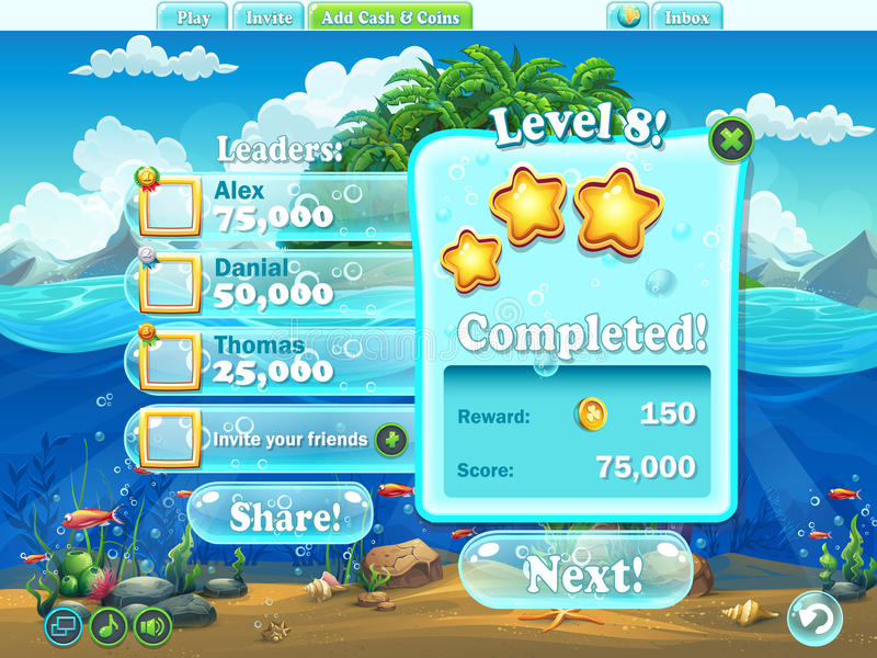 Mondo del pesce - esempio di completamento del livello della finestra per un computer g illustrazione vettoriale