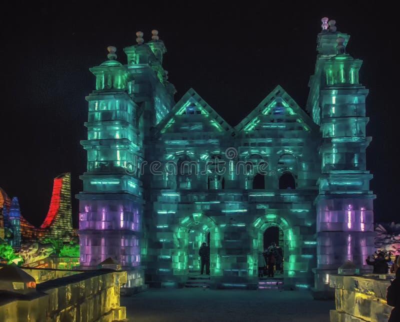 Mondo della ghiaccio-neve di Harbin con i molti sculture di neve e del ghiaccio, è un festival del famouse nella provincia di Hei fotografia stock