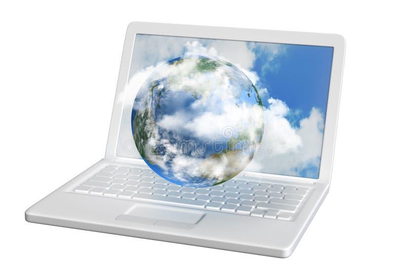 Mondo di calcolatore della nube illustrazione di stock