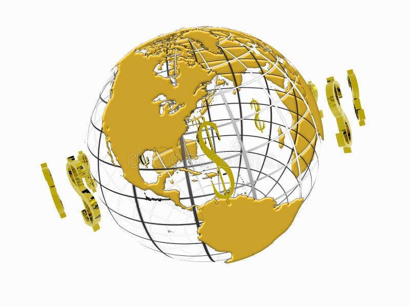 Mondo di circolazione del dollaro. royalty illustrazione gratis