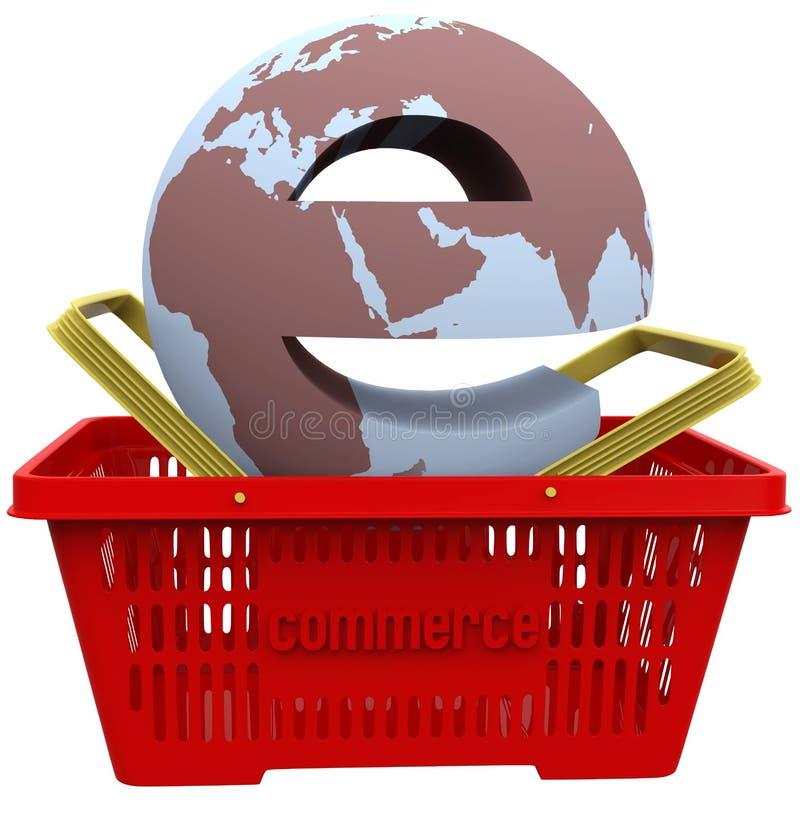 Mondo di commercio elettronico in cestino della spesa royalty illustrazione gratis