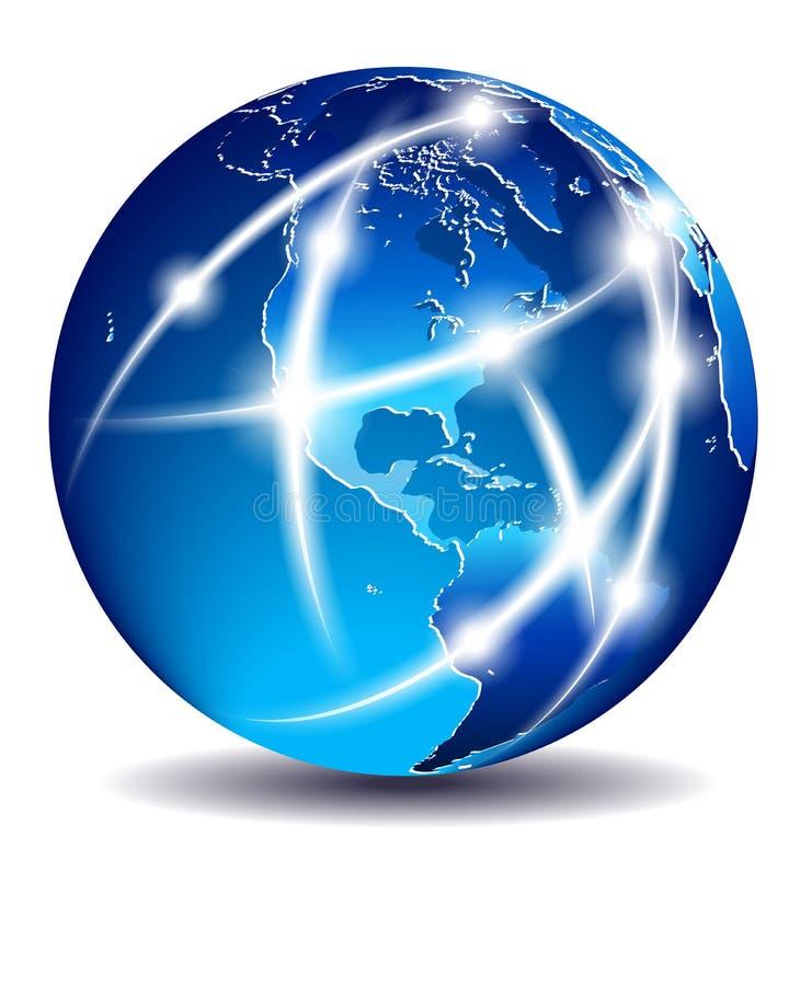 Mondo di comunicazione, commercio globale - America illustrazione vettoriale