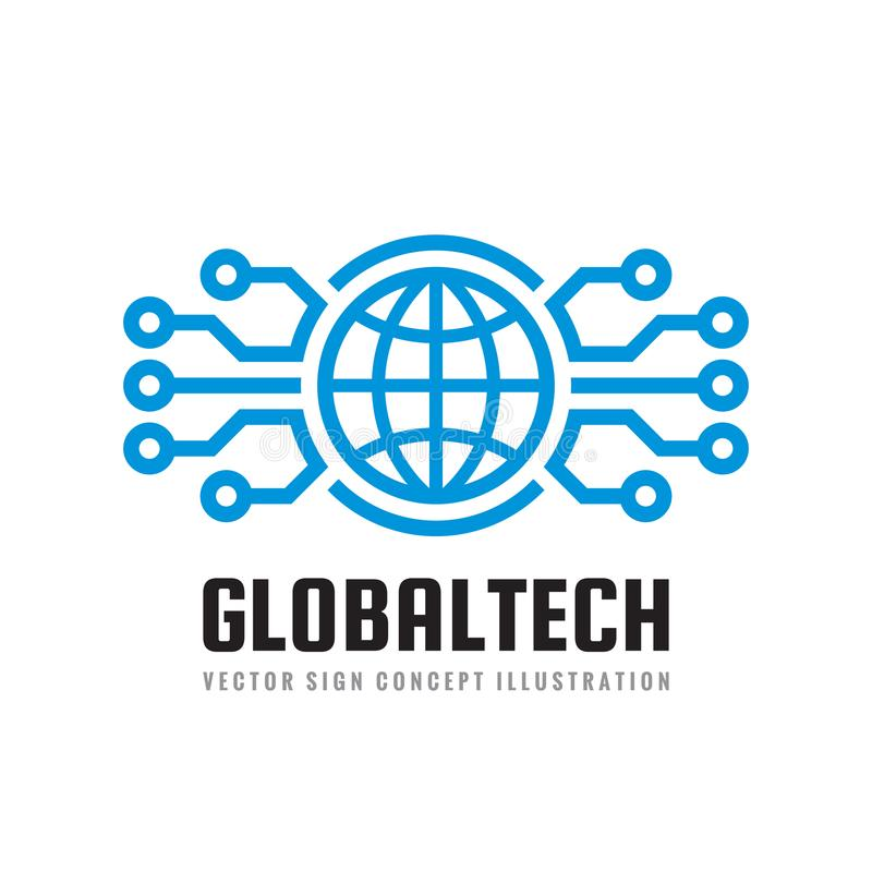 Mondo di Digital - vector l'illustrazione di concetto del modello di logo di affari Segno astratto del globo e rete elettronica T illustrazione vettoriale
