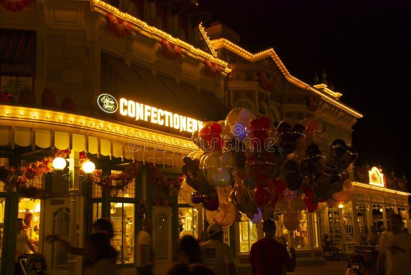 Mondo di Disney alla notte immagini stock libere da diritti