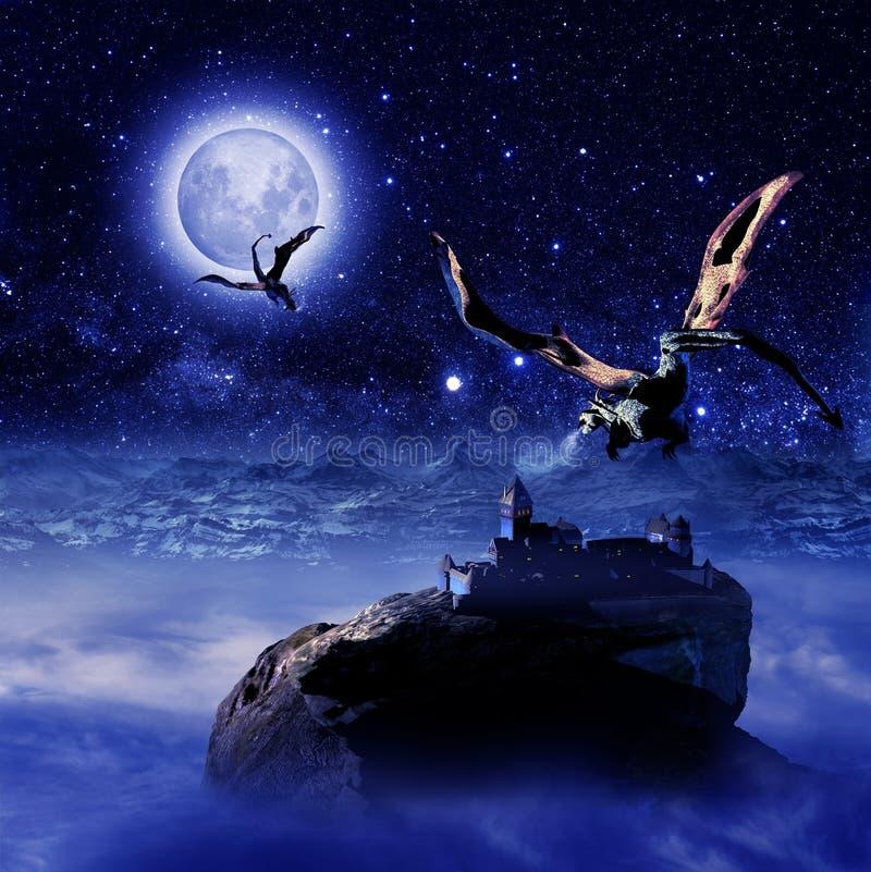 Mondo di fantasia sotto le stelle illustrazione di stock
