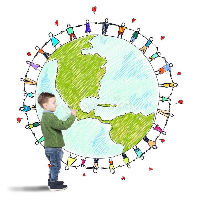 Mondo di solidarietà di un bambino fotografia stock