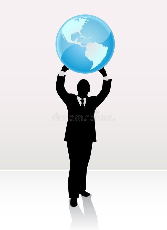 Mondo di sollevamento dell'uomo d'affari royalty illustrazione gratis