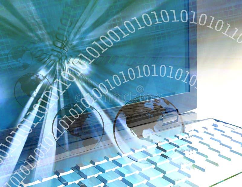 Mondo di tecnologie informatiche - azzurro illustrazione di stock