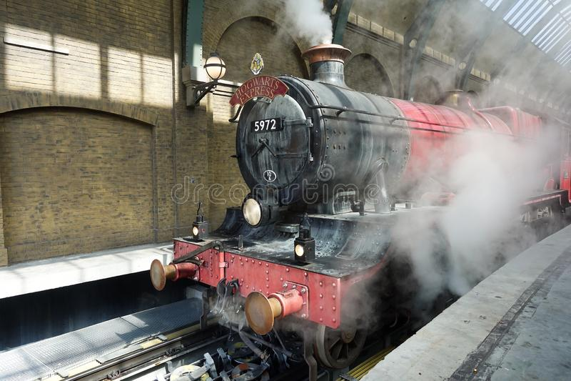 Mondo di Universal Studios Wizarding di Harry Potter Hogwarts Express fotografia stock libera da diritti
