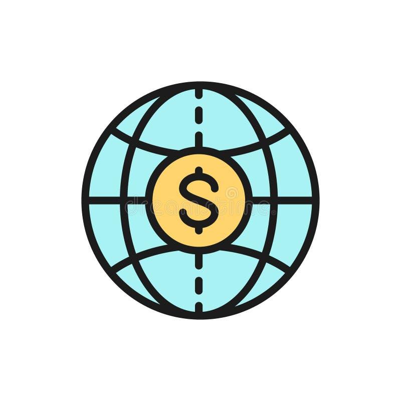 Mondo di vettore con la moneta, contanti globali, linea di colore piana dei trasferimenti di denaro icona illustrazione di stock