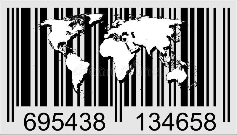 Mondo e codice a barre illustrazione vettoriale