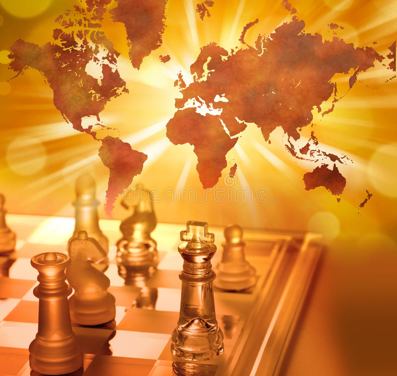 Mondo globale di scacchi di strategia aziendale immagini stock libere da diritti