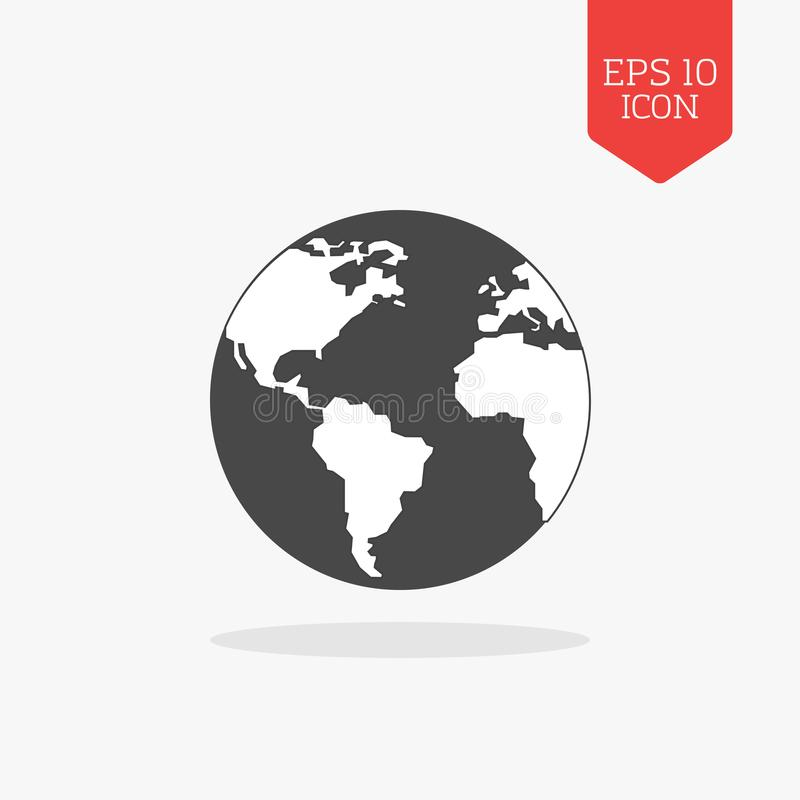 Mondo, icona del globo Simbolo grigio di colore di progettazione piana Web moderno di UI illustrazione vettoriale