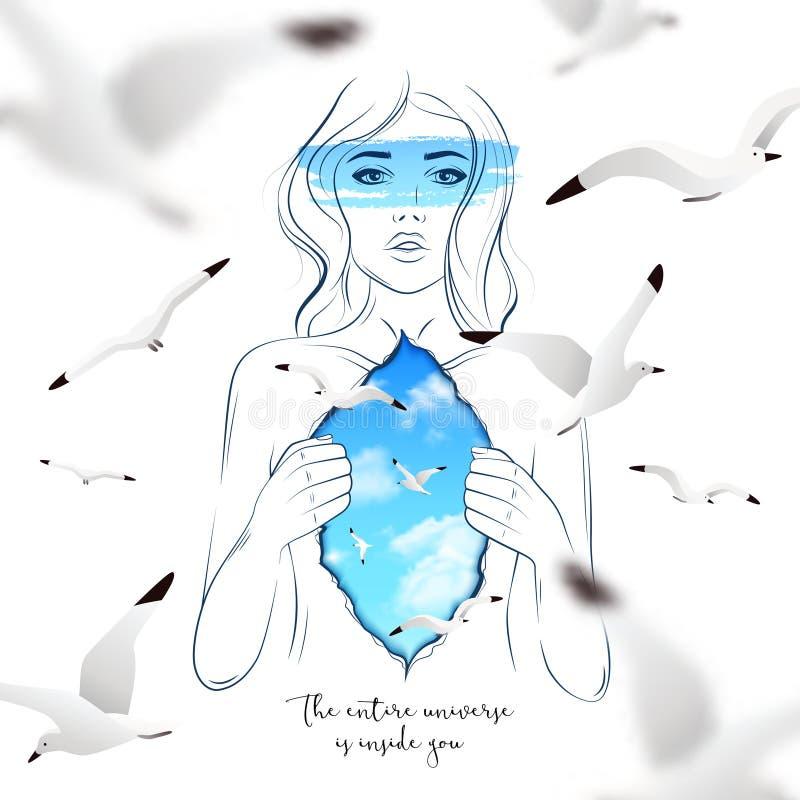 Mondo interno di bella donna illustrazione vettoriale