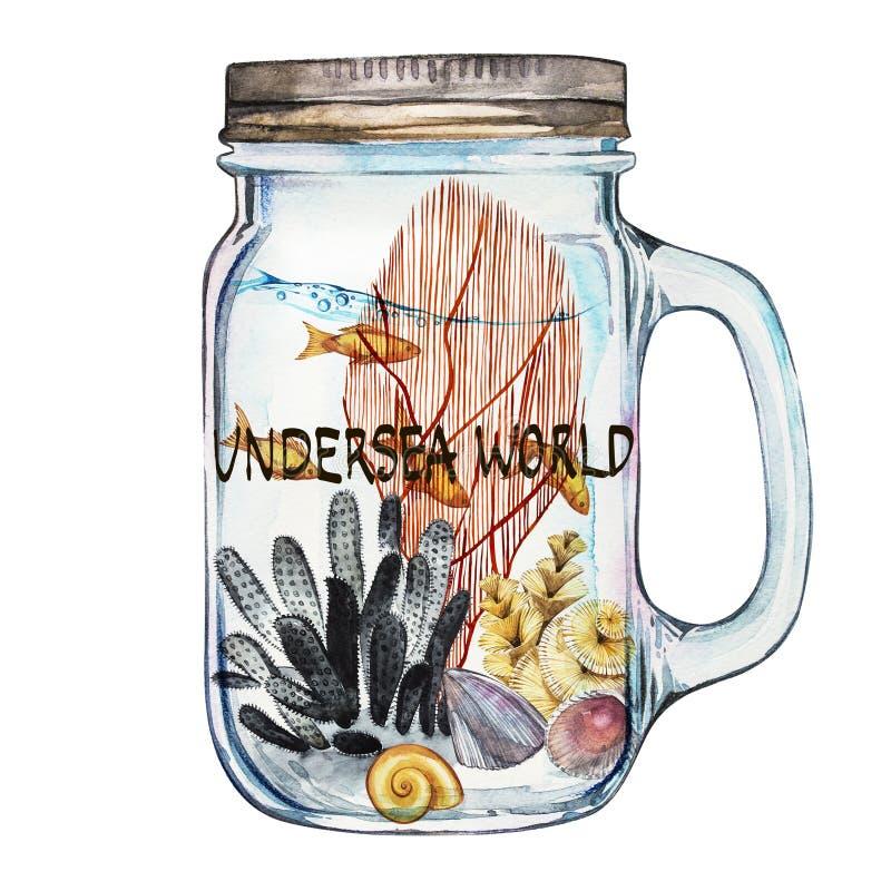 Mondo Parola-subacqueo Chiavetta di Isoleted con Marine Life Landscape - l'oceano ed il mondo subacqueo con differente illustrazione vettoriale