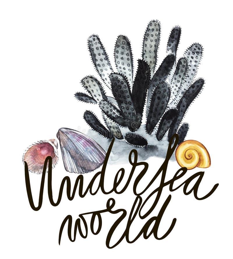 Mondo Parola-subacqueo La vita ed i coralli di mare dell'alga delle composizioni obiettano su fondo bianco Acquerello disegnato a illustrazione di stock