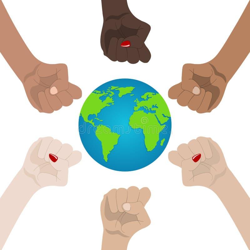 Mondo razziale e uguaglianza di genere Unità, Alliance, gruppo, concetto del partner Tenendosi per mano mostra dell'unit? icona d illustrazione di stock