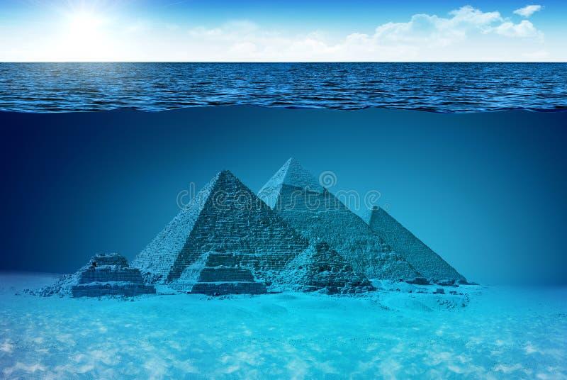 Mondo sconosciuto delle piramidi illustrazione di stock