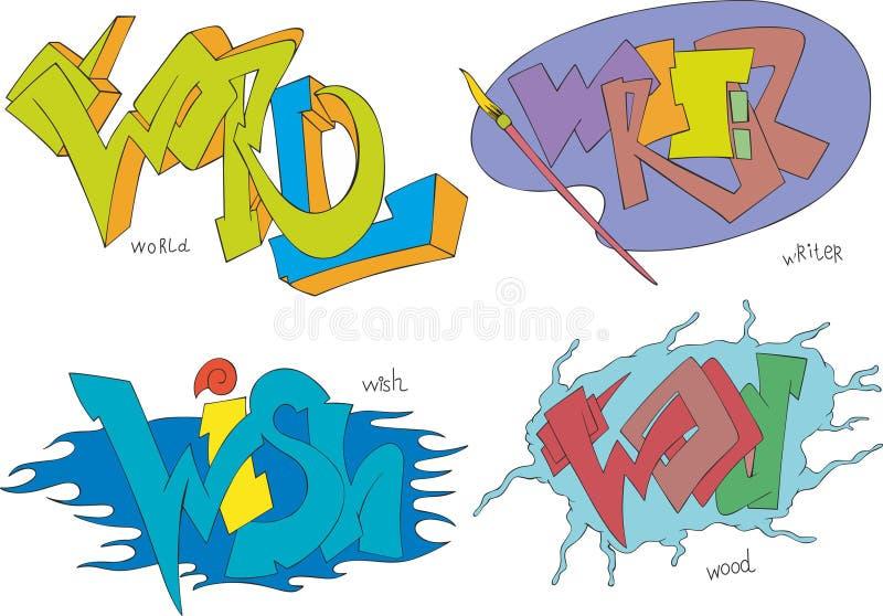 Mondo, scrittore, desiderio e graffiti di legno illustrazione vettoriale