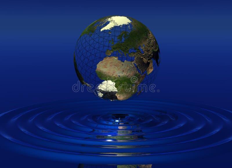 Mondo sopra acqua illustrazione di stock
