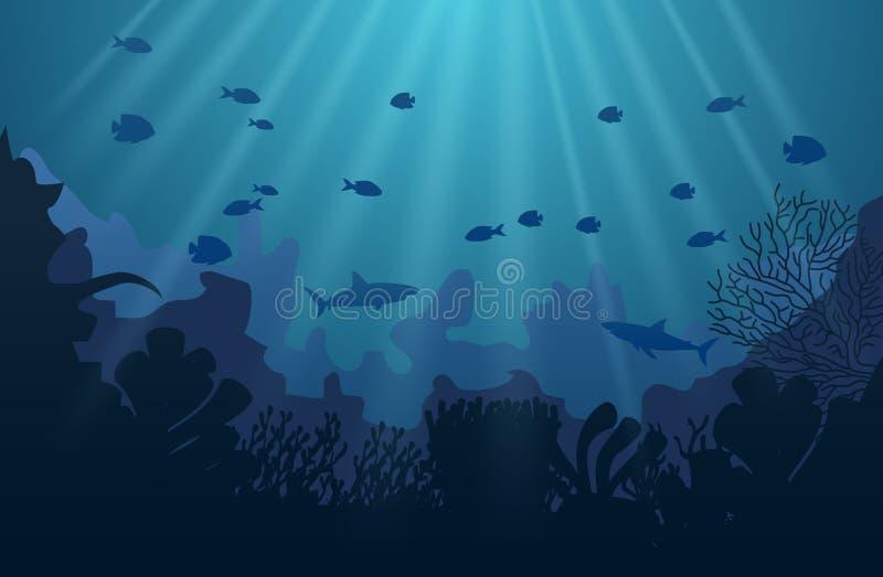 Mondo subacqueo dell'oceano con gli animali illustrazione di stock