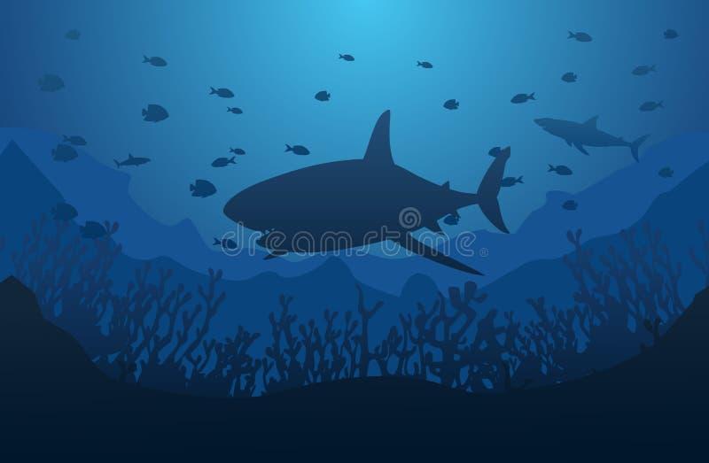 Mondo subacqueo dell'oceano con lo squalo royalty illustrazione gratis