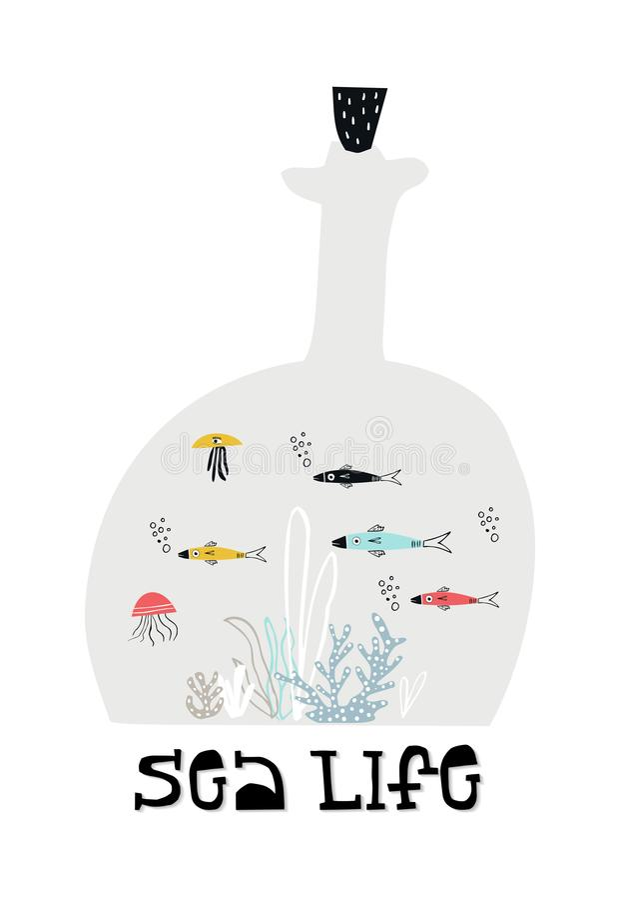 Mondo subacqueo in una bottiglia con alga ed il pesce illustrazione di stock