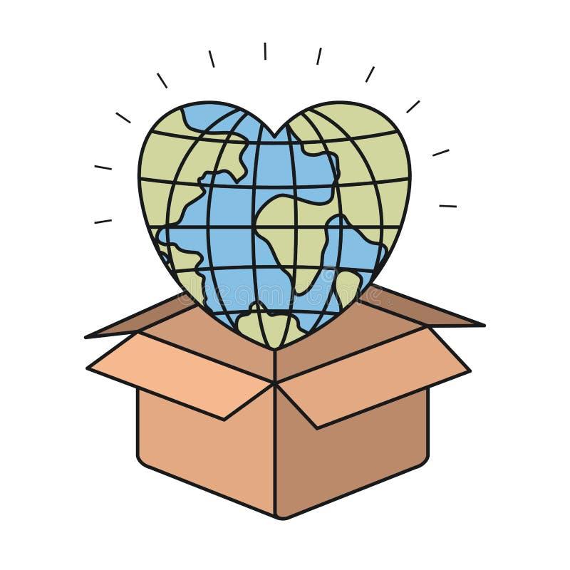 Mondo variopinto della terra del globo del primo piano della siluetta nella forma del cuore che esce da scatola di cartone royalty illustrazione gratis