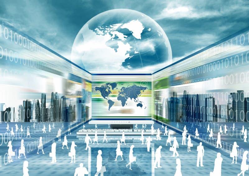 Mondo virtuale di affari illustrazione vettoriale
