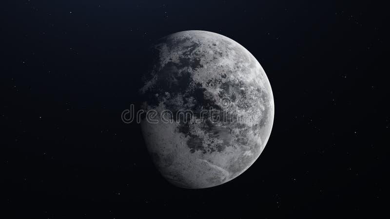 Mondoberfläche Realistische 3d übertragen vom Mond und vom Raum stock abbildung