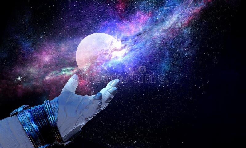 Mondplanet in der Raumfahrerhand Gemischte Medien lizenzfreie abbildung