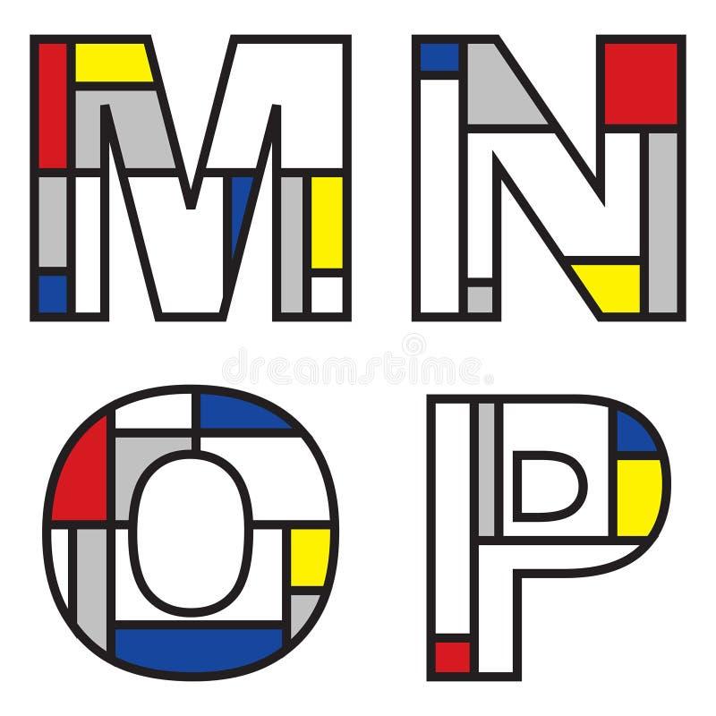 Mondrian Alphabete stock abbildung