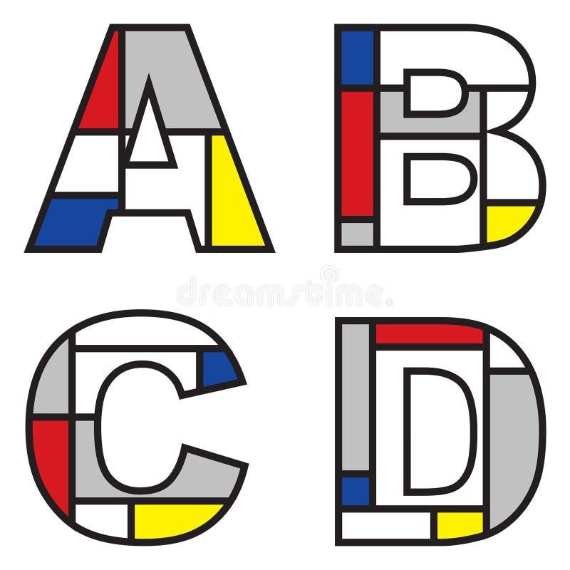 Mondrian alphabets vector illustration