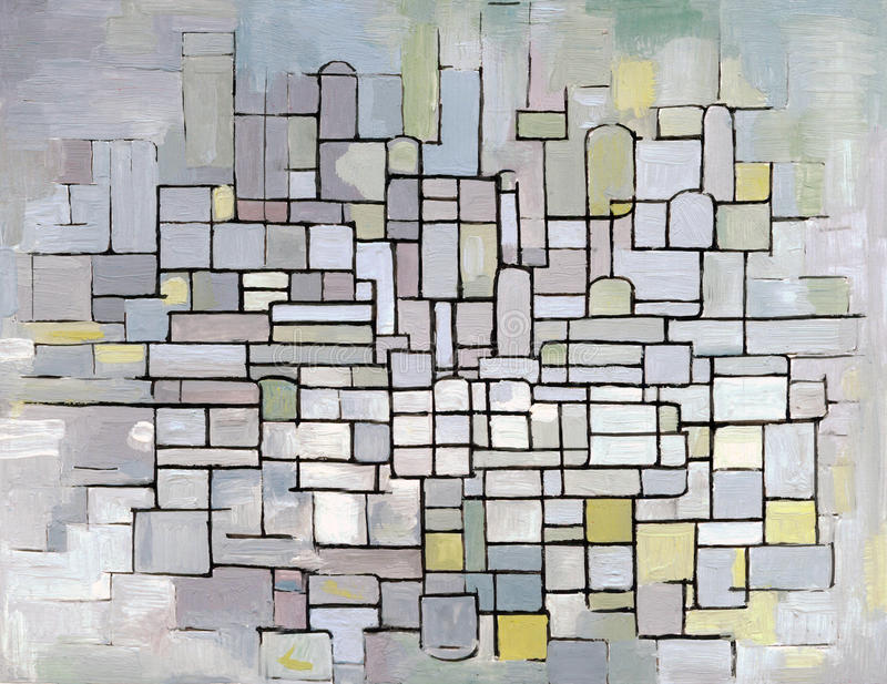 Mondrian Composition in grey, pink and blue royalty free illustration