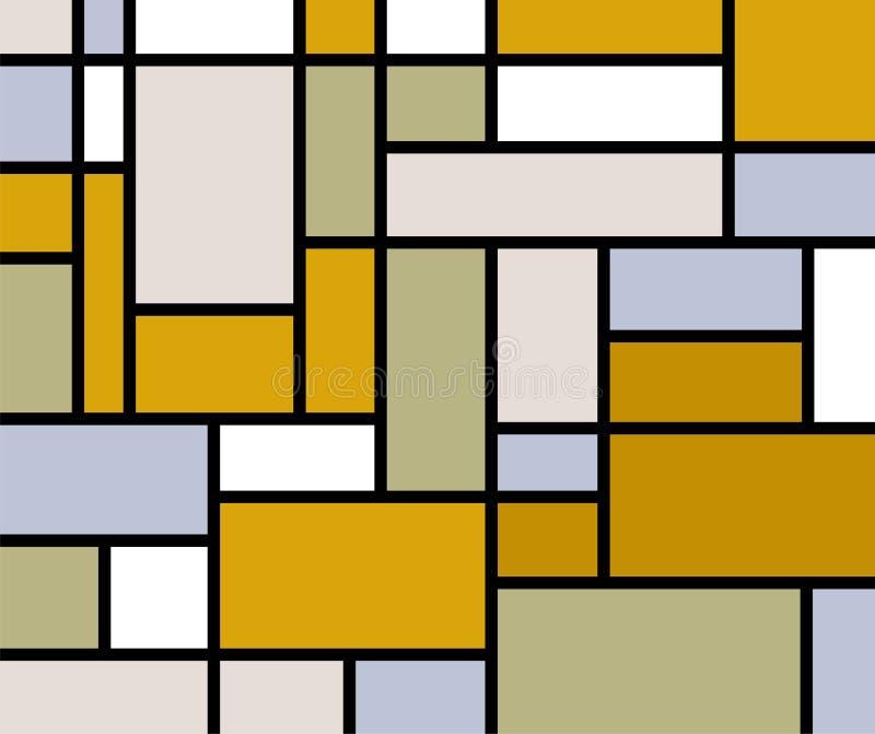 Mondrian disparaît rétro impression illustration de vecteur