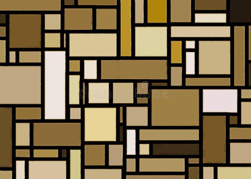 Mondrian för Retro guld inspirerad konst stock illustrationer