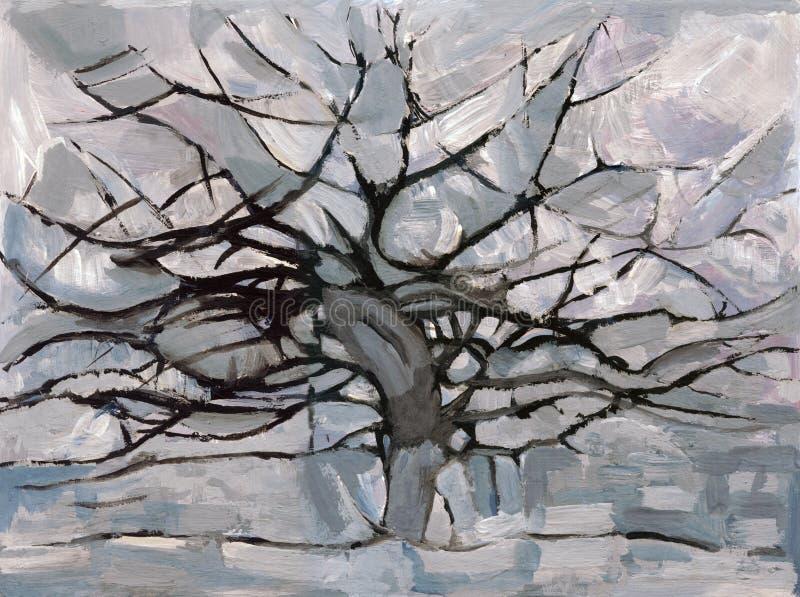 Mondrian Grau-Baum stock abbildung