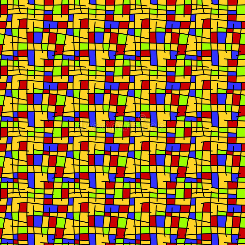 Mondrian squares seamless background stock illustration